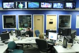 On a Saturday night, the newsroom is fairly empty, with the exception of a producer and an anchor. During a week day, every one of the desks is used by a producer, writer, reporter, or assignment editor.